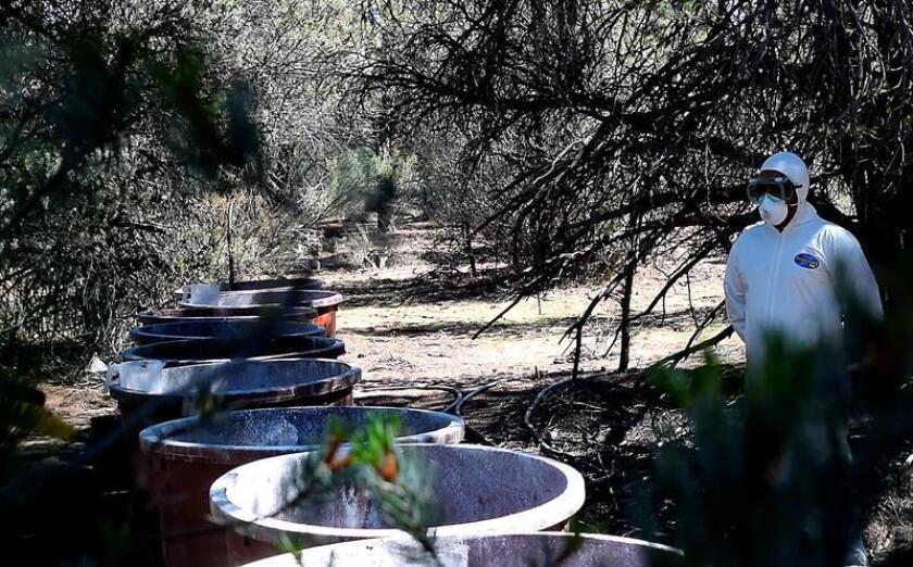 Fotograma extraído de un vídeo, que muestra a miembros del Ejercito Mexicano resguardando un laboratorio clandestino asegurado hoy, martes 28 de agosto de 2018, en Tijuana (México). EFE/Israel Martínez/MEJOR CALIDAD DISPONIBLE