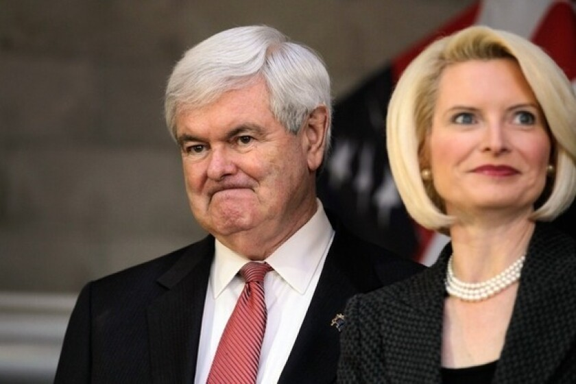 Newt Gingrich and his wife, Callista, during a campaign stop in Walterboro, S.C.