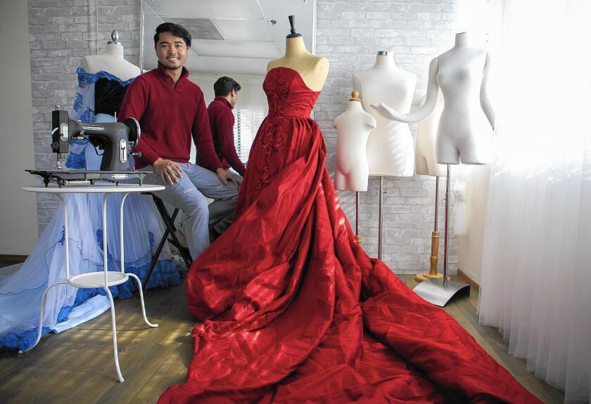 Nephi Garcia is the owner of Designer Daddy in Anaheim. Garcia designs elaborate custom gowns.