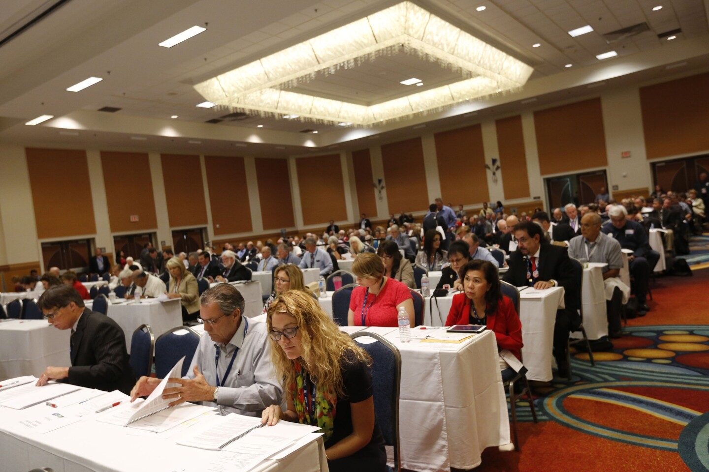 The platform committee meets to discuss immigration and other issues at the Anaheim Marriott.