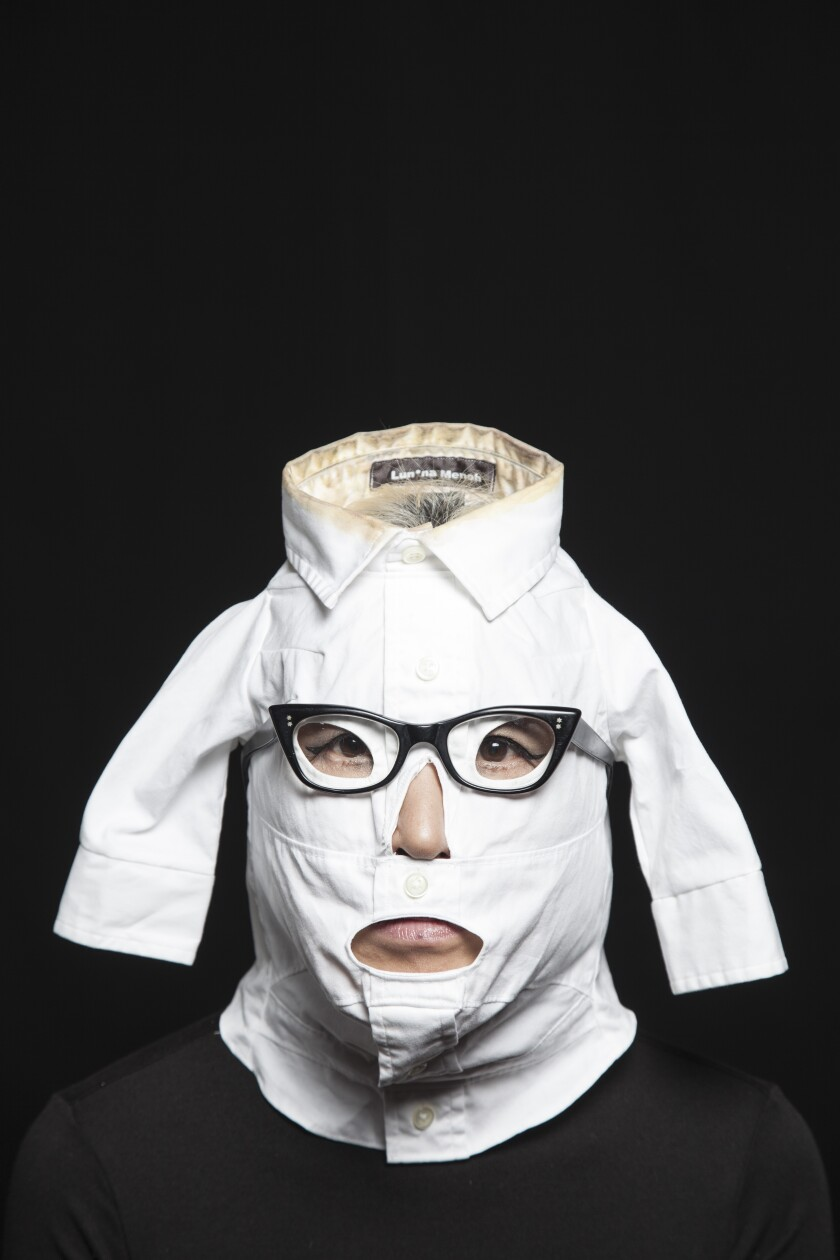"""A Ring Around the Collar, Mask"" by  Lun*ah Menoh, 2012. Fabric, 11 inches by 6 inches by 6 inches."