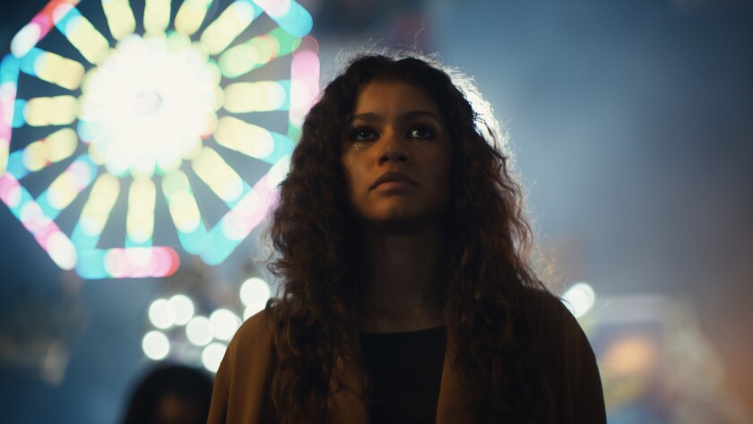 "Zendaya in a scene from ""Euphoria."" Her lead actress Emmy nom came as a surprise."