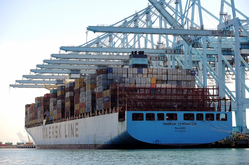 Shipping containers on a ship at the Port of Los Angeles