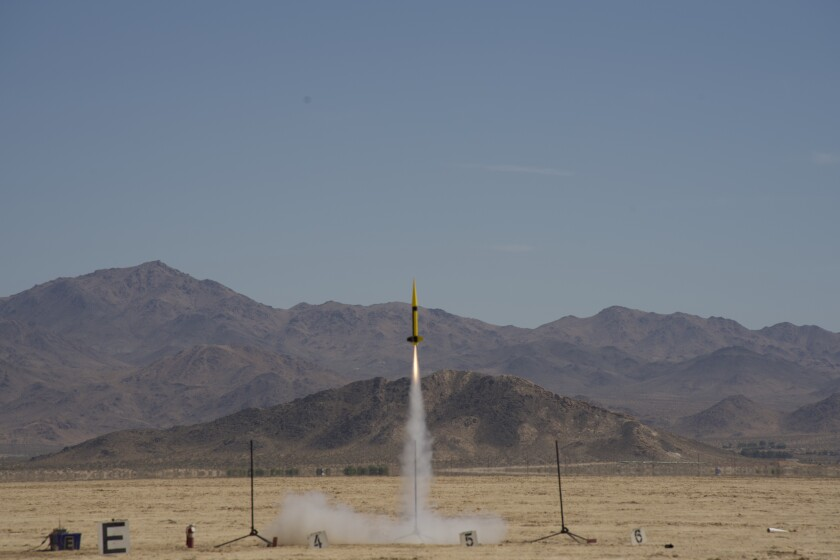 The Ivy Max team's rocket launches during the finals of the American Rocketry Challenge in Lucerne Valley in June.