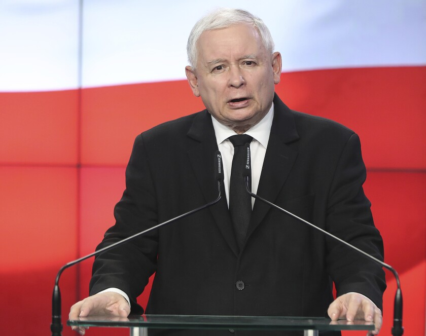 FILE - In this Thursday, Aug. 8, 2019 file photo, Jaroslaw Kaczynski, the head of Poland's ruling party, speaks at a news conference where the speaker of the parliament resigns in Warsaw, Poland. Poland's most powerful politician says the country's future is in the European Union but that Poland also wishes to remain a sovereign country. Jaroslaw Kaczynski, who is the head of the ruling conservative party made his comments in an interview with the state news agency, published Wednesday, Sept. 15, 2021. (AP Photo/Czarek Sokolowski, File)