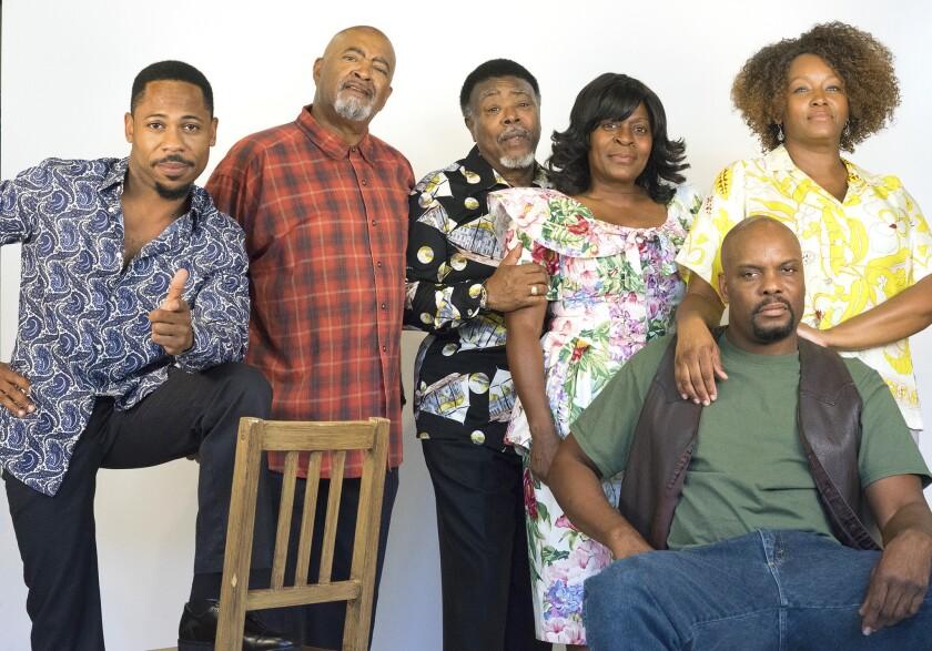 """King Hedley II"" cast members Ro Boddie, Antonio ""T.J."" Johnson, Grandison Phelps III, Milena Phillips, Laurence Brown and Yolanda Franklin (left to right)."