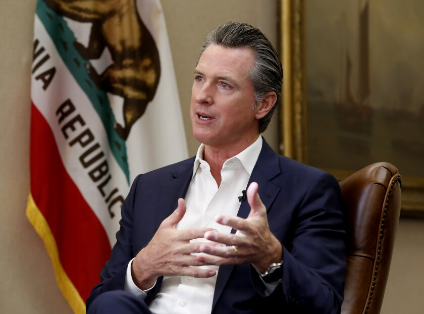 California Gov. Gavin Newsom has moved the state even further left, George Skelton writes.