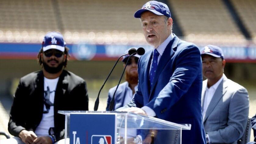 LOS ANGELES, CALIF. -- WEDNESDAY, APRIL 11, 2018: Dodgers President and CEO Stan Kasten, third from