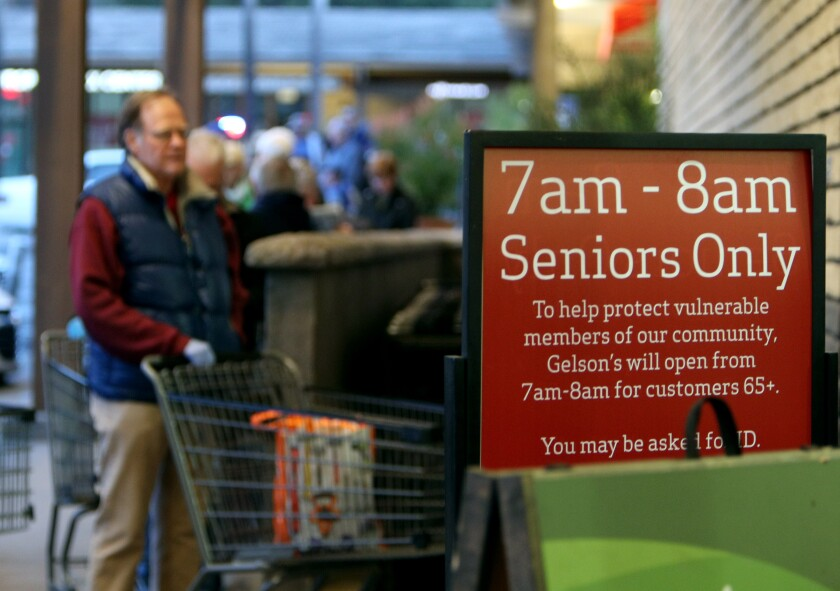 About 150 seniors were in line by 7 am. at Gelson's in La Canada Flintridge on March 20. The store policy now says that only seniors 65 and older can shop from 7 a.m. to 8 a.m.