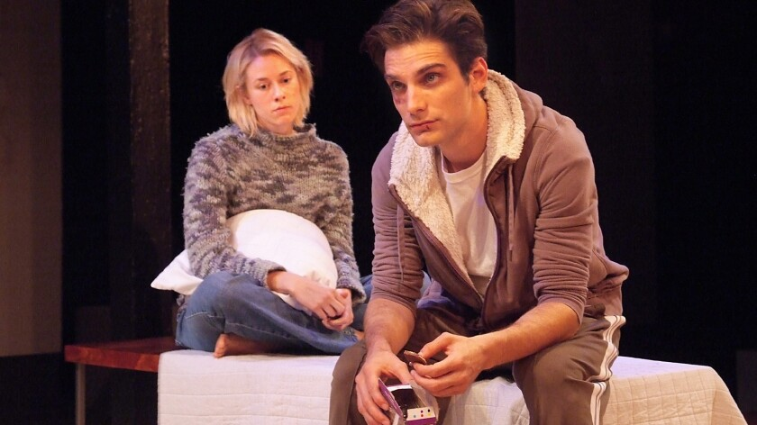 """Sara Rae Foster plays Kayleen and Jeff Ward is Doug in Rajiv Joseph's """"Gruesome Playground Injuries"""" at the Hudson Theatres in Hollywood."""
