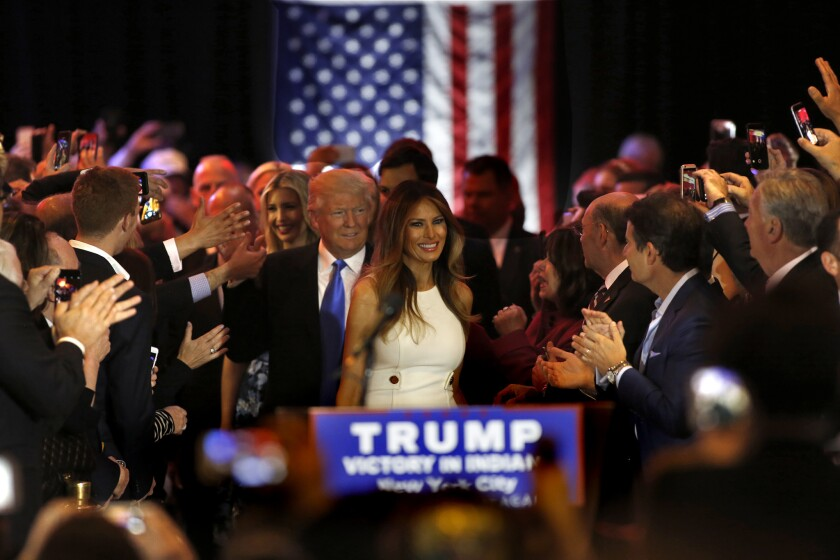 Melania and Donald Trump greet supporters and the media after his victory in the Indiana primary.