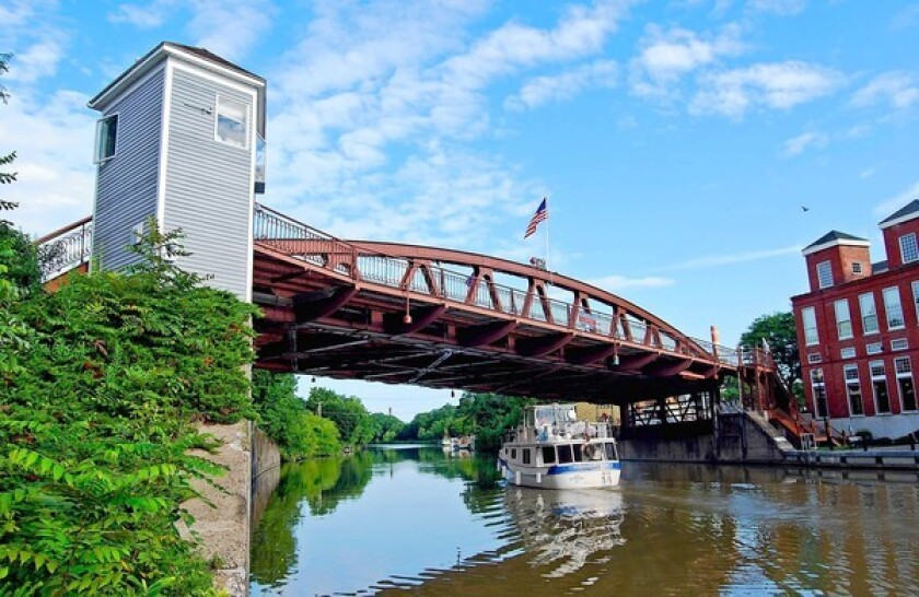 In a rush? There's no such thing as you cruise along the Erie Canal under the lift bridge at Fairport, N.Y. The canal, which dates to 1825, runs from Buffalo to Albany, N.Y.