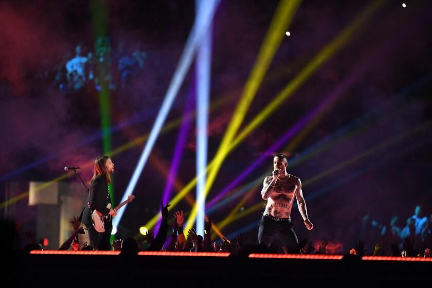 ATLANTA, GEORGIA, FEBRUARY 3, 2019 - Adam Levine of Maroon 5 performs during the Pepsi Super Bowl LI