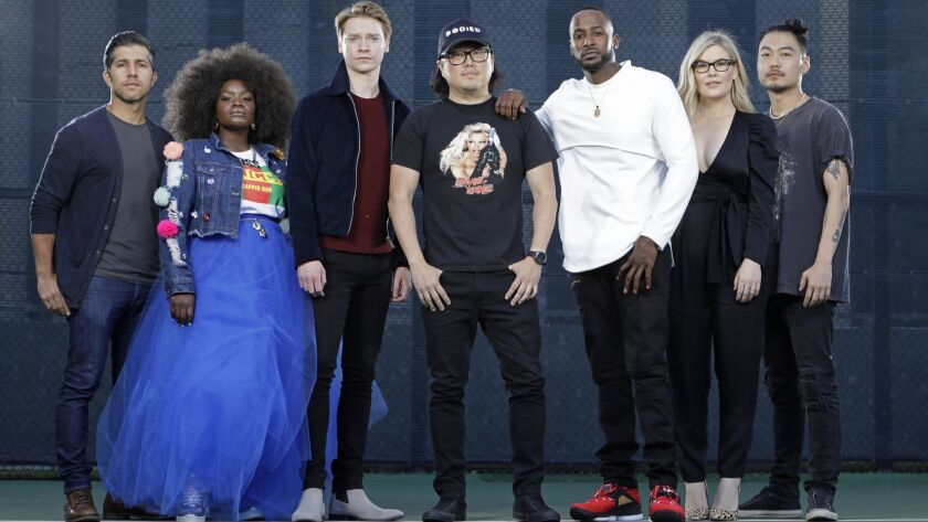 "Director Joseph Kahn, flanked by stars Walter Perez, Shoniqua Shondai, Calum Worthy, Jackie Long, Rory Uphold and Jonathan Park aka Dumbfoundead, brings blistering rhymes and keen-eyed commentary to ""Bodied, "" a searing social satire set in the world of battle rap."