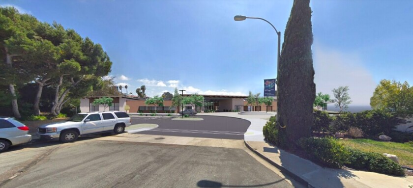 A rendering of the front of the Del Mar Heights School campus.