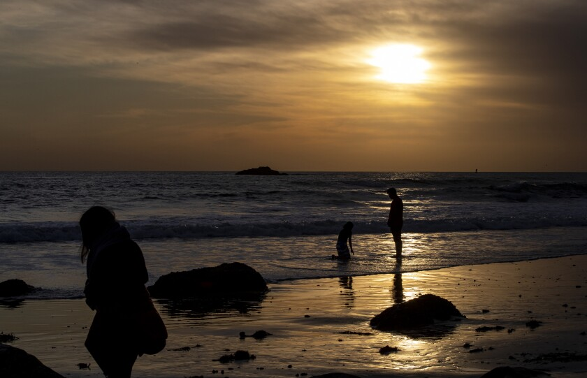 A tide pool in Dana Point at sunset