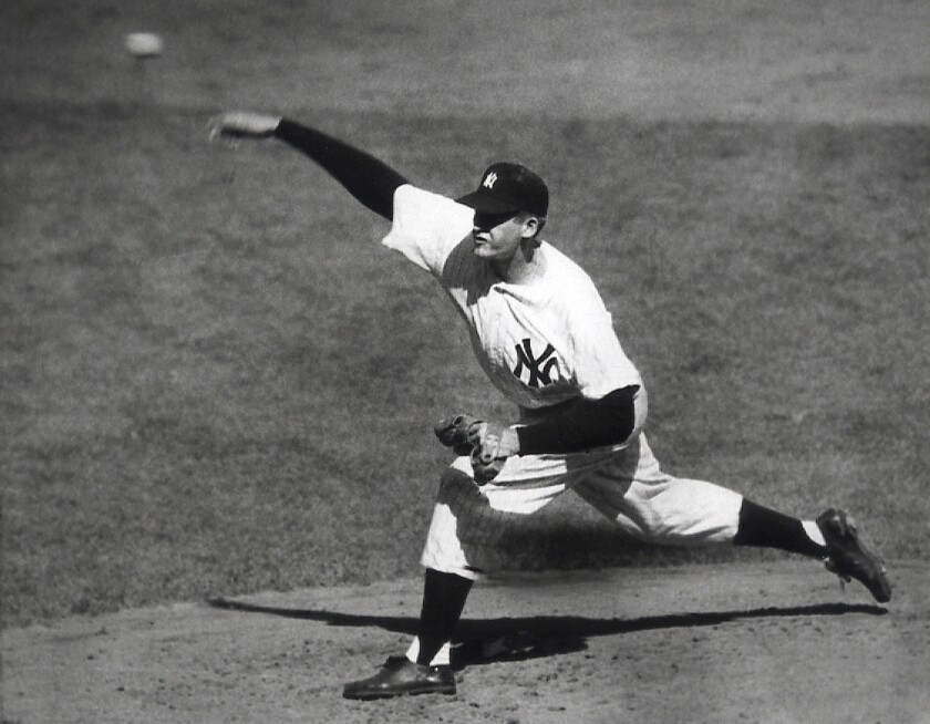 Don Larsen delivers a pitch in the fourth inning of Game 5 against the Brooklyn Dodgers in 1956