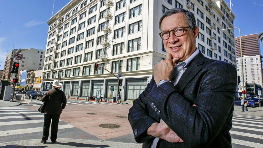 Developer Dan Rosenfeld in front of Junipero Serra State Office Building in downtown Los Angeles, a historic department store he helped renovate.