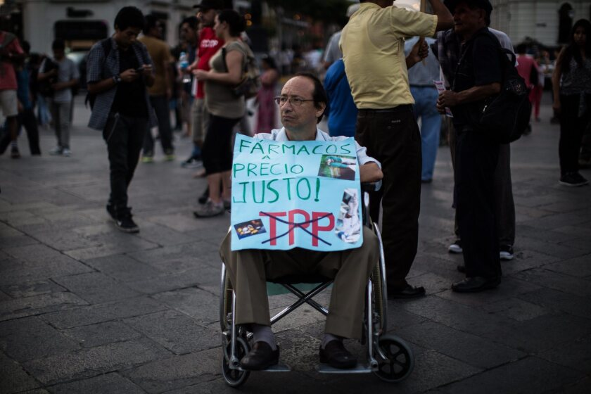 Protest against the Trans-Pacific Partnership in Lima