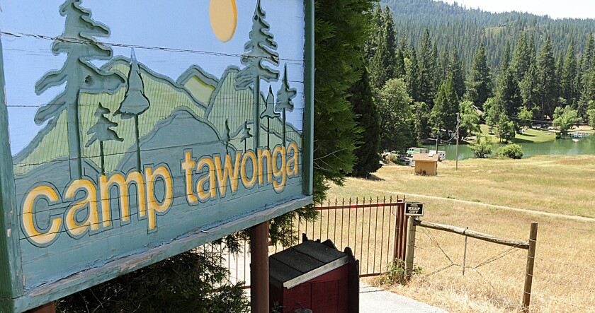 The entrance to Camp Tawonga in Groveland on Wednesday. Camp employee Annais Rittenberg was killed when a tree fell near the camp's dining hall.