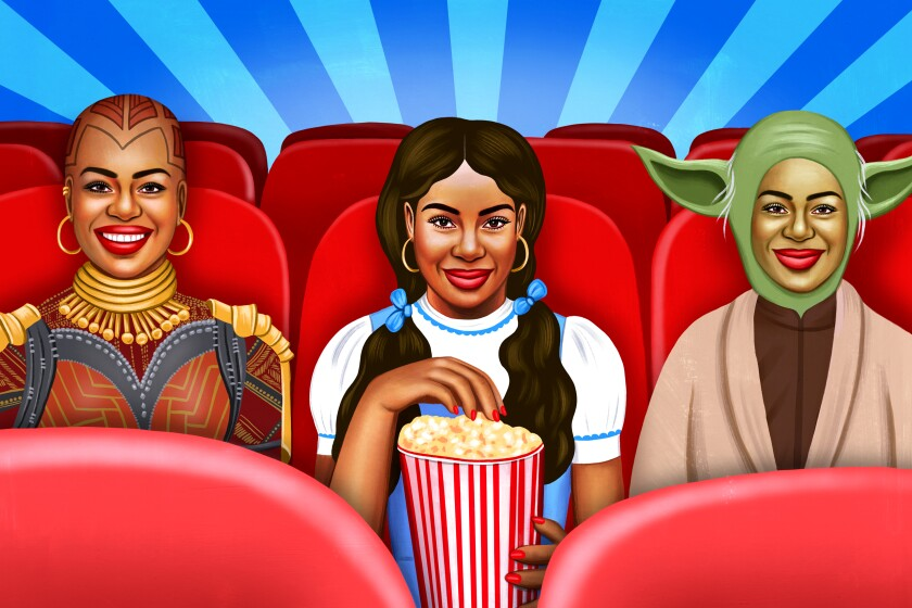 An illustration of three costumed people in a movie theater.