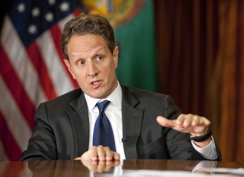 Now settling scores: Former Treasury Secretary Timothy Geithner in 2012.