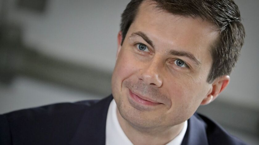 In this April 29, 2019, photo, Democratic presidential candidate Mayor Pete Buttigieg, from South Be