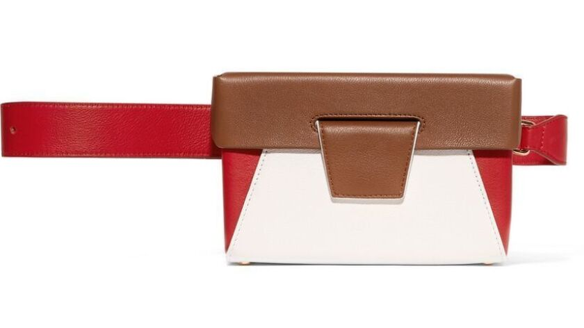 Handcrafted in London, Yuzefi's Lola color-blocked bag gives the trend an architectural slant, $505.