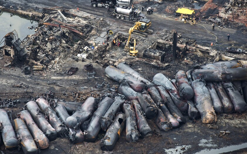 Disaster scene at Lac-Megantic in Canada's Quebec province