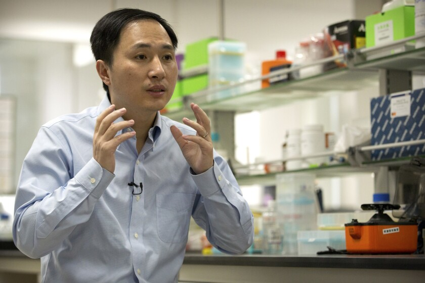 In this Oct. 10, 2018 photo, He Jiankui speaks during an interview at a laboratory in Shenzhen in so