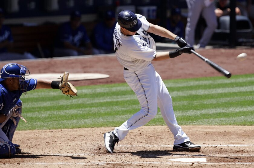 Padres' Ryan Ludwick hits RBI double against the Royals in the third inning.