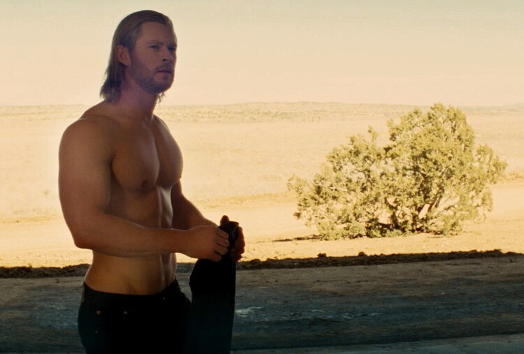"No thunder thighs on Chris Hemsworth. But he's got some thunderous biceps. It's hammer time. ""Thor"" opens May 6."