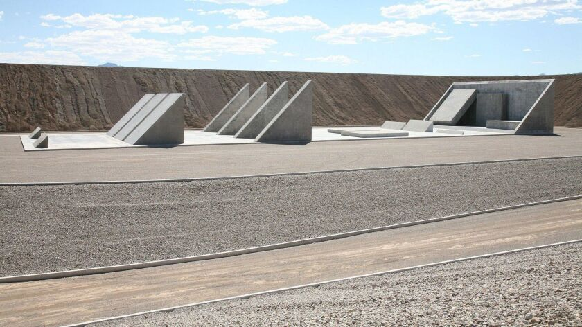 """Part of Michael Heizer's """"City"""" in Nevada."""