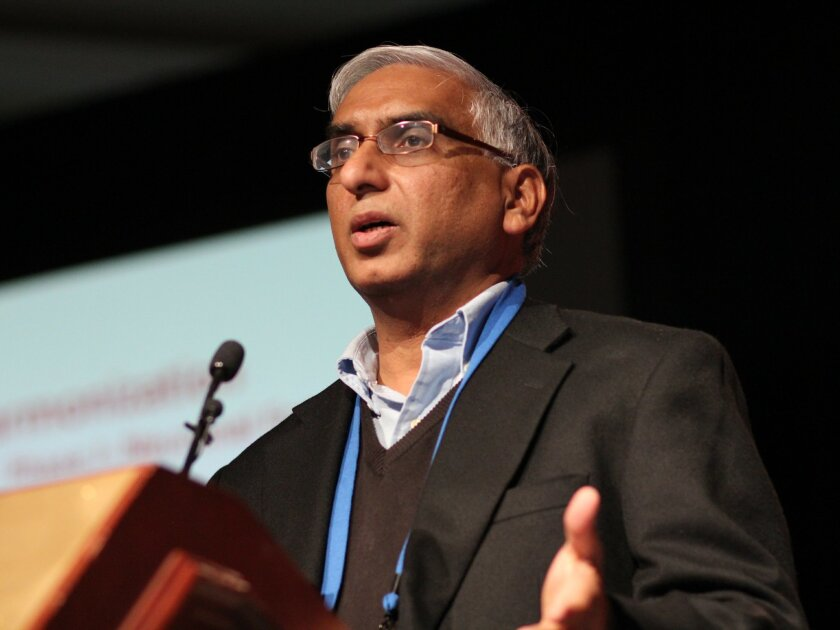 Stem cell scientist Mahendra Rao, former director of the now-defunct Center For Regenerative Medicine at the National Institutes of Health. Photo taken in December, 2013 during a speech by Rao at the World Stem Cell Summit in San Diego.