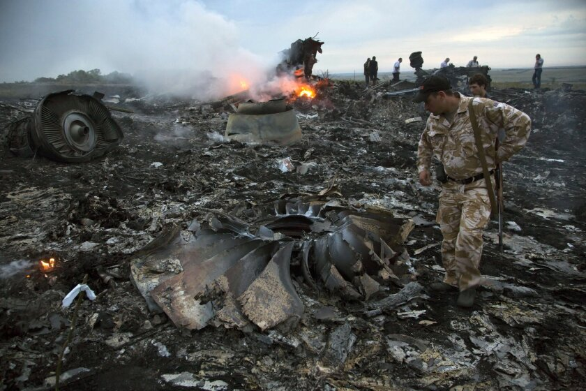 Pro-Russia separatists near the eastern Ukraine village of Grabovo look through the wreckage of Malaysia Airlines Flight 17 shortly after the Boeing 777 was downed en route from Amsterdam to Kuala Lumpur on July 17, 2014.