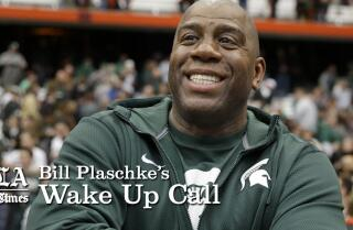 Bill Plaschke's Wakeup Call: Charlie Sheen and Magic Johnson are not alike