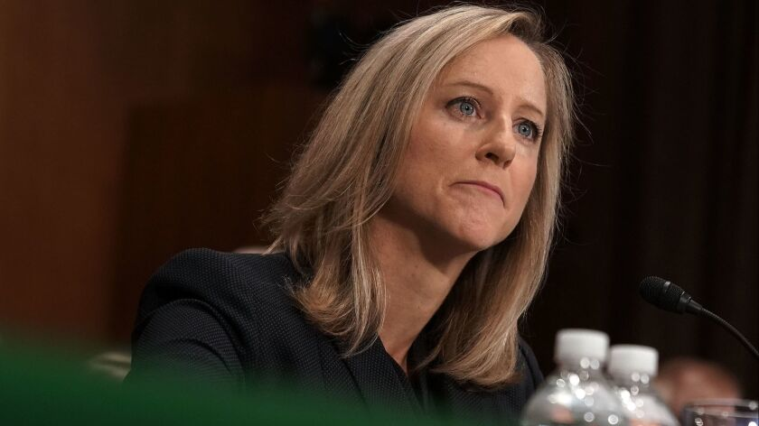 White House Office of Management and Budget official Kathleen Laura Kraninger testifies July 19 before the Senate Banking Committee. The Senate on Thursday advanced Kraninger's nomination to become the director of the CFPB.