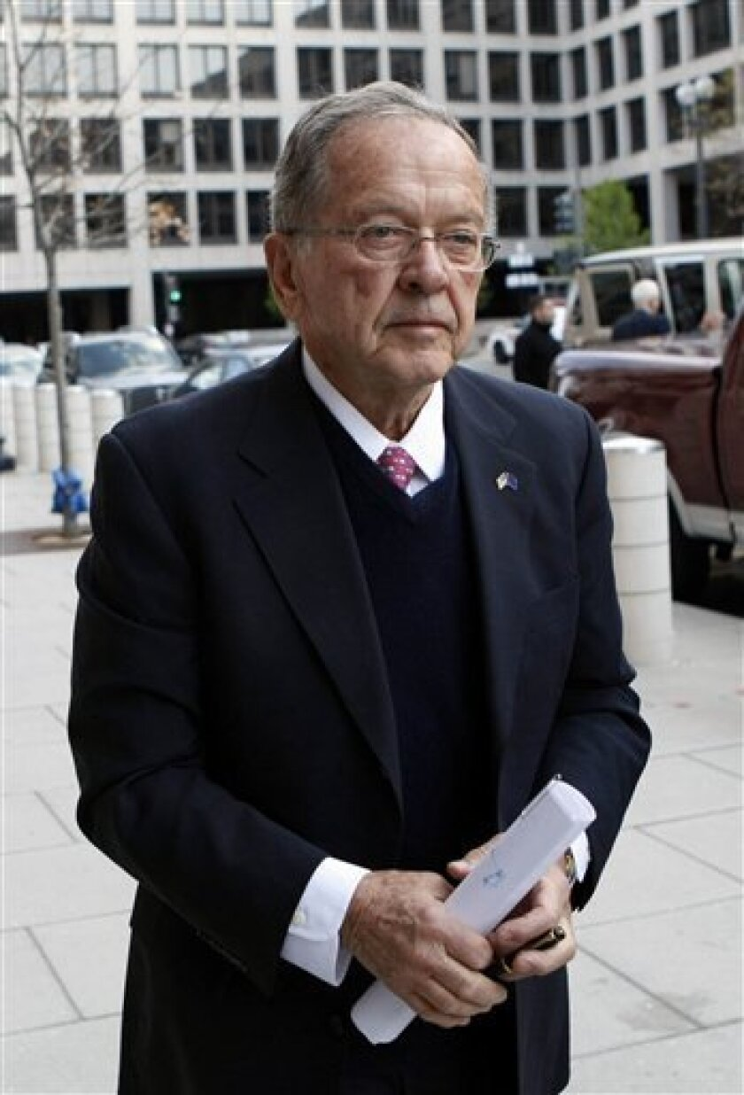 "FILE - In this Tuesday, April 7, 2009 file photo, former Alaska Sen. Ted Stevens, R-Alaska, arrives at federal court in Washington. A federal judge on Wednesday rejected arguments from four attorneys who prosecuted the late Sen. Ted Stevens to keep private a report that reveals details of their mishandling of the case, but said he will not hold them criminally responsible for their ""ill-gotten verdict."" (AP Photo/Gerald Herbert, file)"