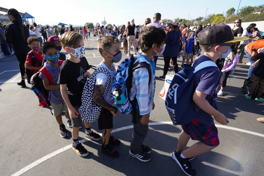 Students line up for first day of school at Enrique S. Camarena Elementary