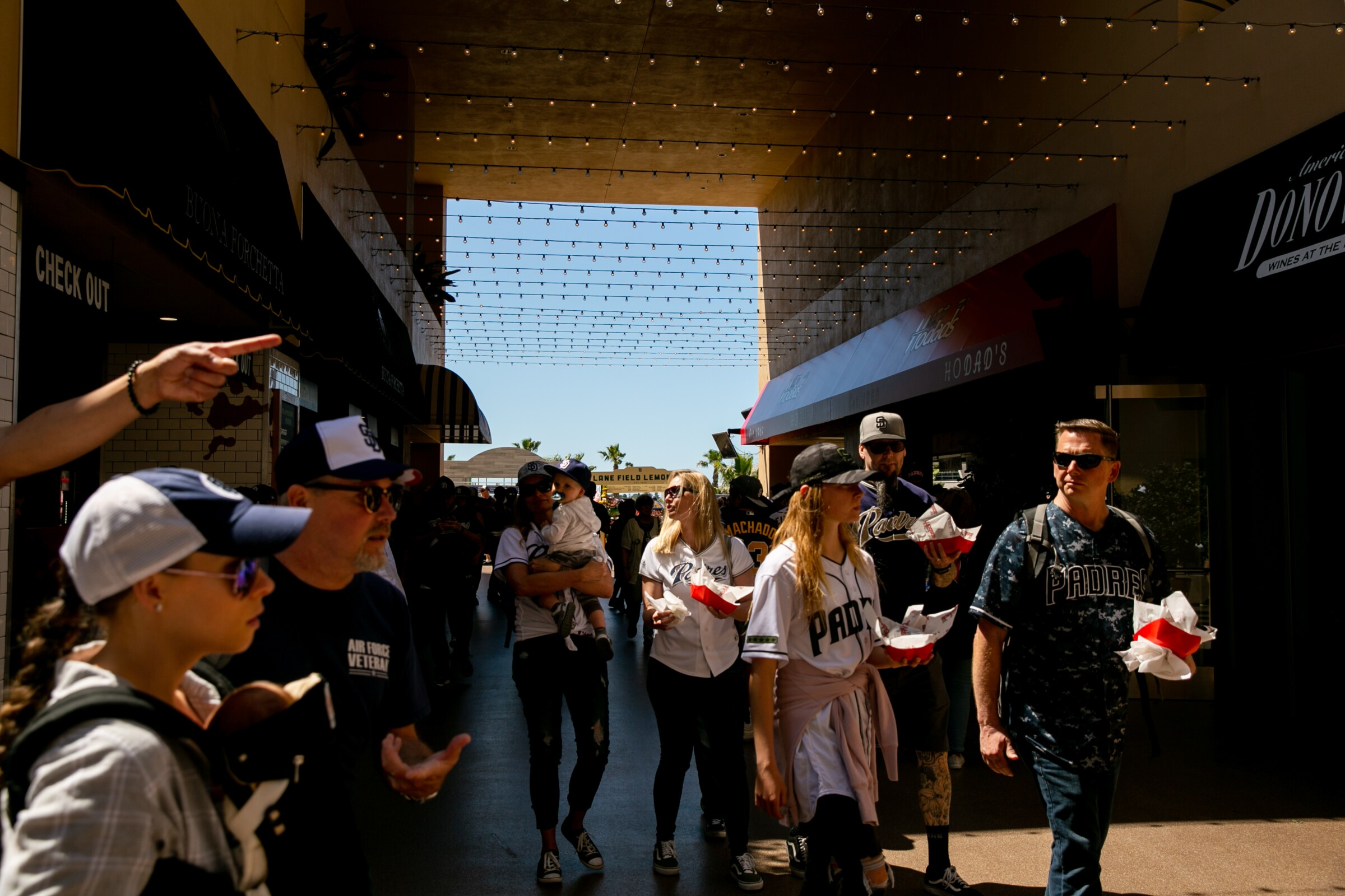 Fans grab concessions prior to the first pitch at Petco Park on Opening Day 2019 for the San Diego Padres.