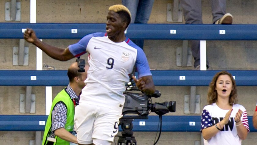 U.S. forward Gyasi Zardes does a celebratory leap after scoring one of his two goals against Bolivia during an exhibition game Saturday.