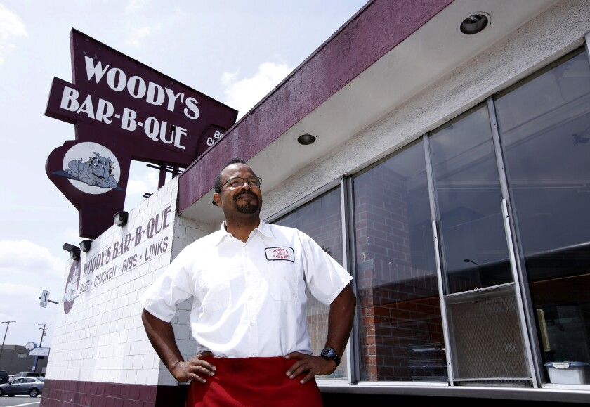 Woody Phillips' son Roderick, outside the family's Inglewood location in 2016.