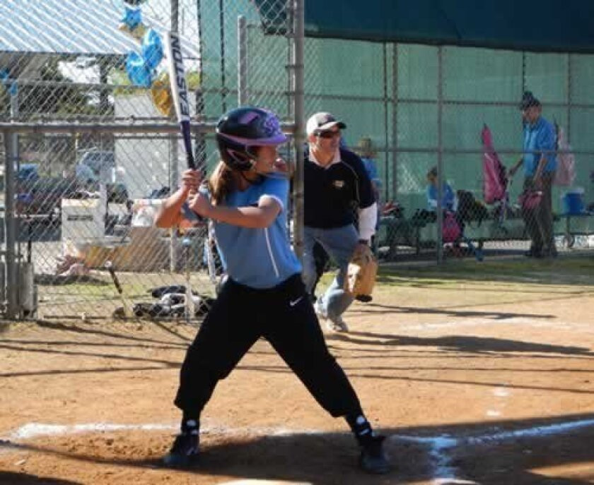 Sierra James gets ready to swing hard on a fast pitch during the La Jolla Coastal Bay Softball League Opening Day Game.