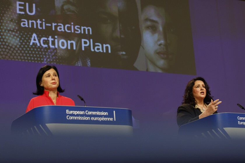 European Commissioner for Values and Transparency Vera Jourova and European Commissioner for Equality Helena Dalli on Friday.