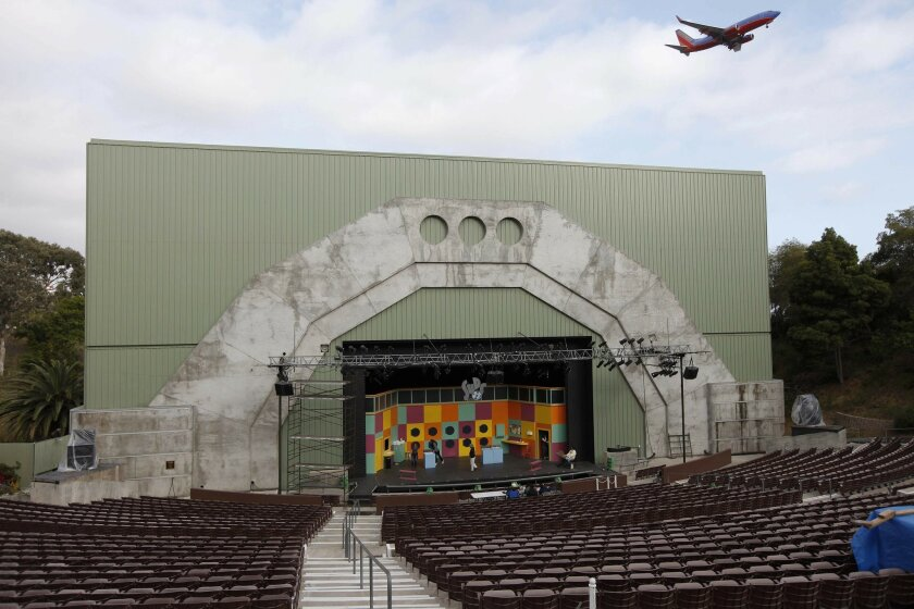 """A jet passes over Starlight Bowl in Balboa Park during a rehearsal of Starlight Musical Theatre's """"SUDS"""" in 2010. There's been no word yet on when, or whether, a 2011 season will begin for the 65-year-old company."""