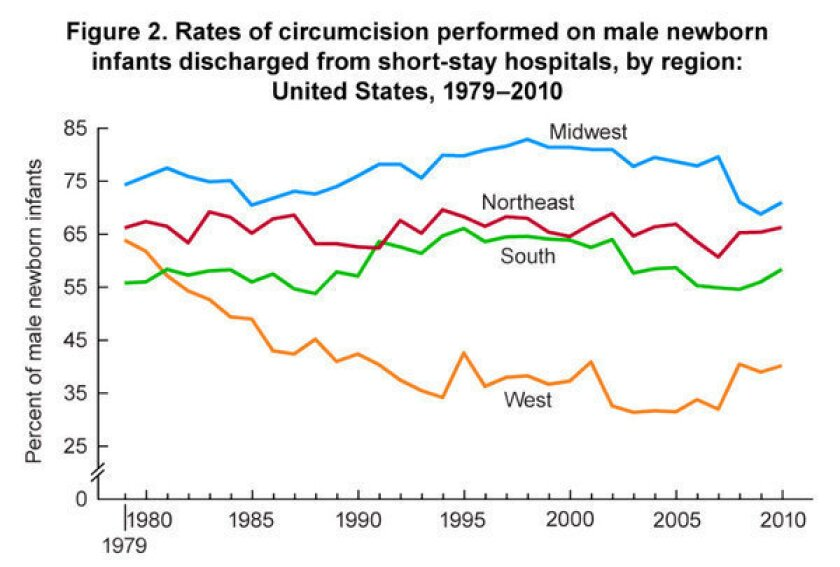 Baby boys in Western states less likely to be circumcised in