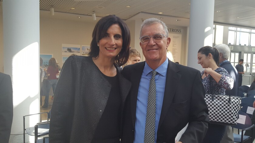 Museum of Contemporary Art San Diego incoming director and CEO Kathryn Kanjo with outgoing director (of 33 years), Hugh Davies.