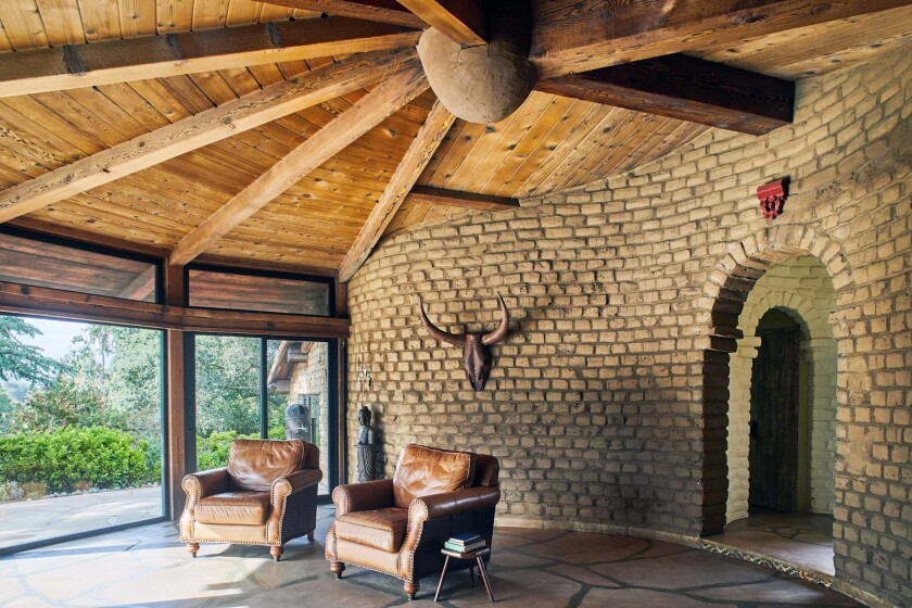 KAUFMAN ADOBE: Round ceilings and curved walls in this 1958 Escondido home are signatures of Larry Weir's designs.