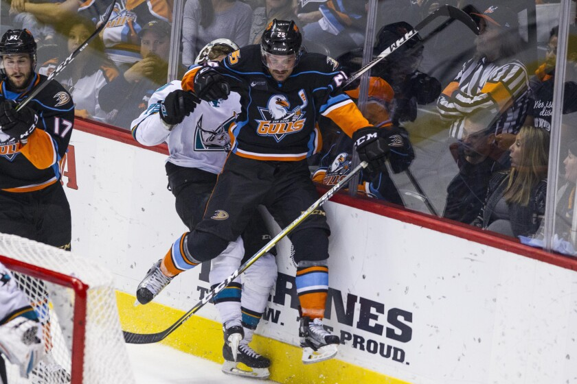 San Diego Gulls center Sam Carrick slams San Jose defenseman Tim Heed into the wall, knocking his helmet off during the second period.