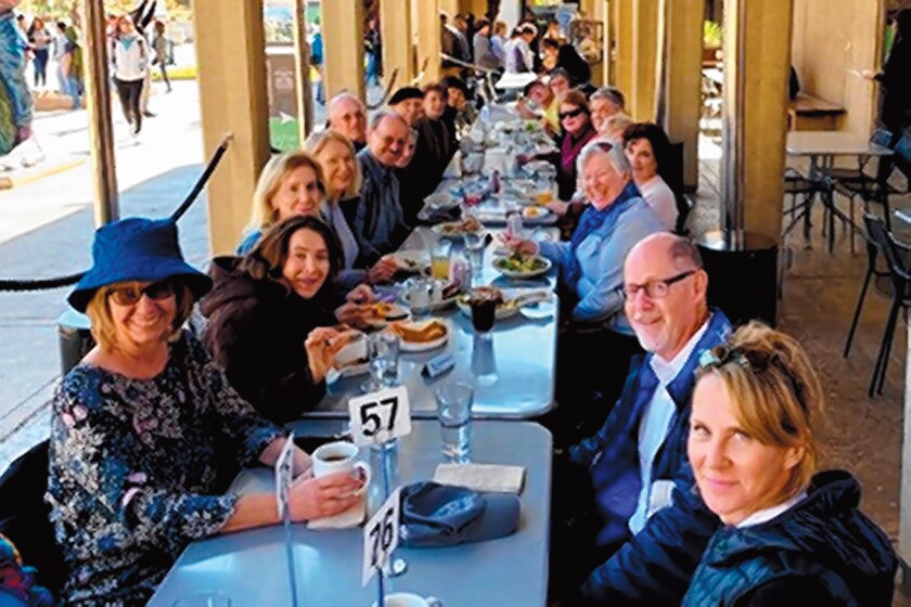 La Jolla Newcomers Club members have lunch at Panama 66 Restaurant in Balboa Park.